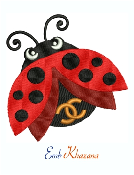 Chanel CC Ladybug logo machine embroidery design