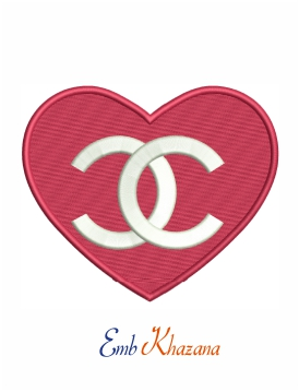 Chanel red heart logo machine embroidery design