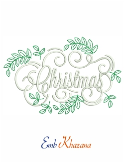Christmas Leaf Embroidery Design