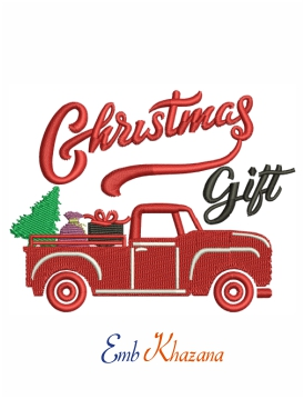 Christmas gift machine embroidery  design