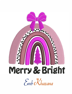 Christmas rainbow machine embroidery design