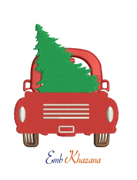 Christmas Truck and tree machine embroidery design