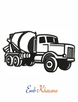 Concrete mixture truck embroidery design
