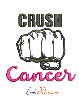 Crush cancer machine embroidery design