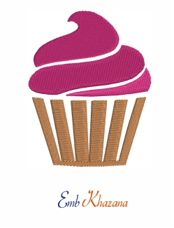 Cup Cake 1 Color Embroidery Pattern
