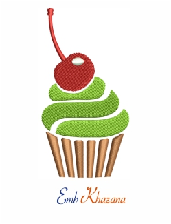 Cup Cake 3colors Embroidery Design
