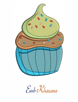 Cup Cake Embroidery Design