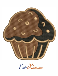 Cup Cake Brown Embroidery Design