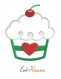 Cup Cake With Cherry Design