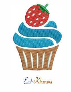 Cup Cake With Strawberry Design