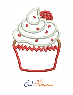 Cupcake Christmas Embroidery Design