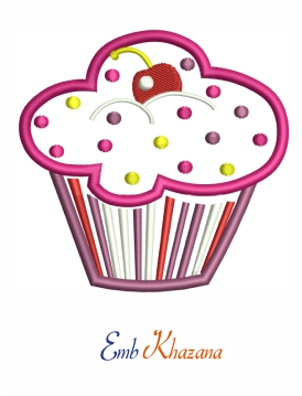 Cupcake Embroidery Pattern Design