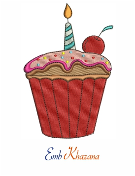 Cupcake Logo Embroidery Design
