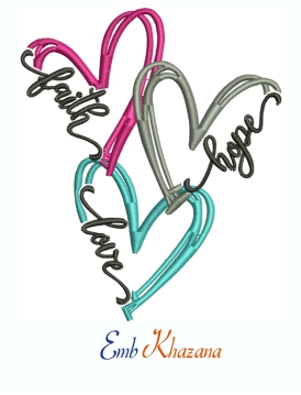 Faith Hope And Love Locking Hearts Machine Embroidery Design