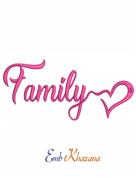 Family heart machine embroidery design