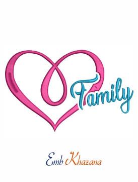 Family in heart machine embroidery design
