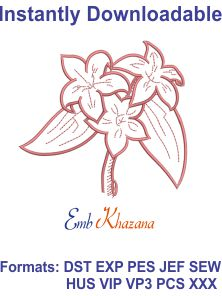 Lily Flower Free Outline Embroidery Design