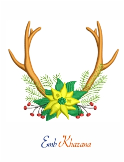 Flower With Antler Embroidery Deign