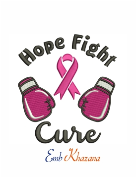 Hope fight cure machine embroidery design