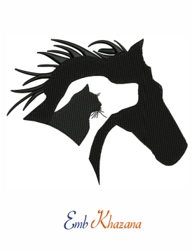Horse dog cat silhouette embroidery design