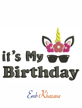 It's my birthday machine embroidery design