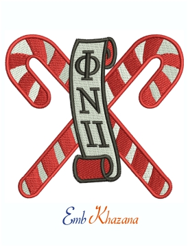 Kappa Alpha Psi Candycane Patches Machine Embroidery Design