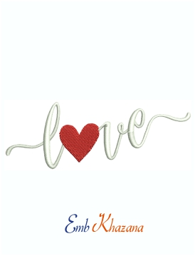Love Letters With Heart Machine Embroidery Design