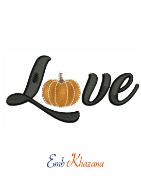 Pumpkin love machine embroidery design