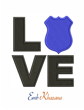 Love police machine embroidery design