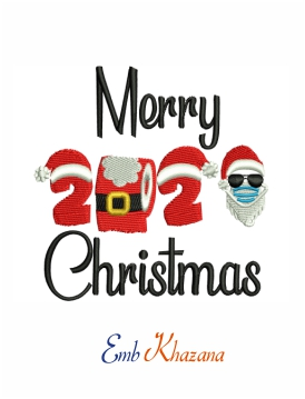 Merry christmas 2020 machine embroidery design