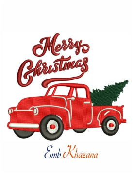 Merry Christmas truck machine embroidery design