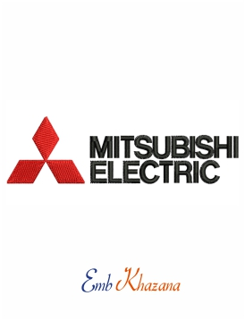 Mitsubishi electric logo embroidery design