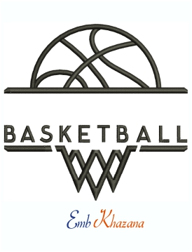 Monogram Basketball Logo Machine Embroidery Design