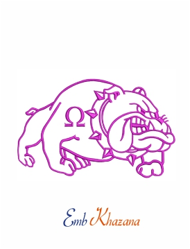 Bulldog omega machine embroidery design
