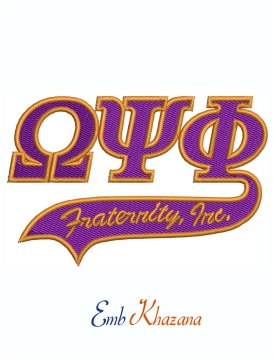 Omega Psi Phi Fraternity Tail Machine Embroidery Design