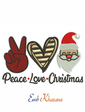 Peace Love Christmas machine embroidery design