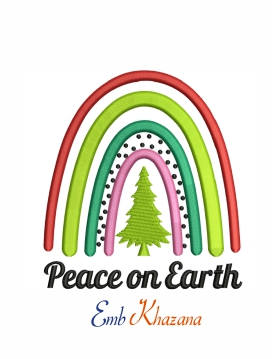 Peace on earth rainbow machine embroidery design