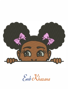 Peekaboo girl with puff afro machine embroidery design