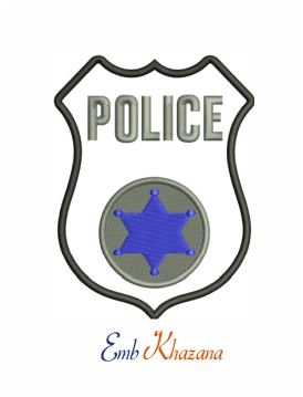 Blue police machine embroidery design