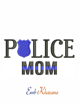 Police mom officer machine embroidery design