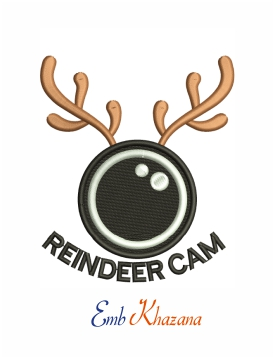 Reindeer cam christmas machine embroidery design