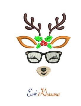 Reindeer face with glasses and flower machine embroidery design