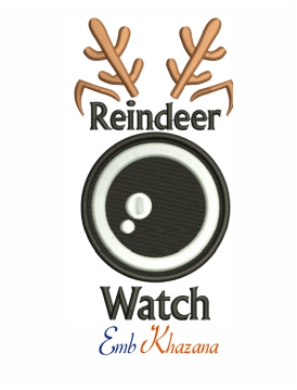 Reindeer watch machine embroidery design