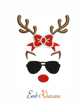 Reindeer with glasses and bow machine embroidery design