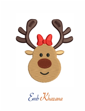Funny Face Reindeer With Bow Machine Embroidery Design