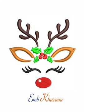 Cute reindeer with eyelashes machine embroidery design