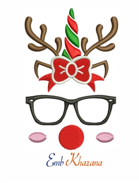 Unicorn reindeer with bow and glasses machine embroidery design