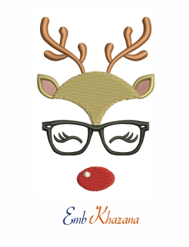 Reindeer Face with Glasses machine embroidery design