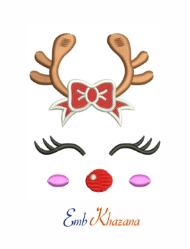 Reindeer with red bow machine embroidery design