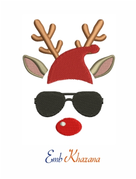 Reindeer with santa cap and sunglasses machine embroidery design